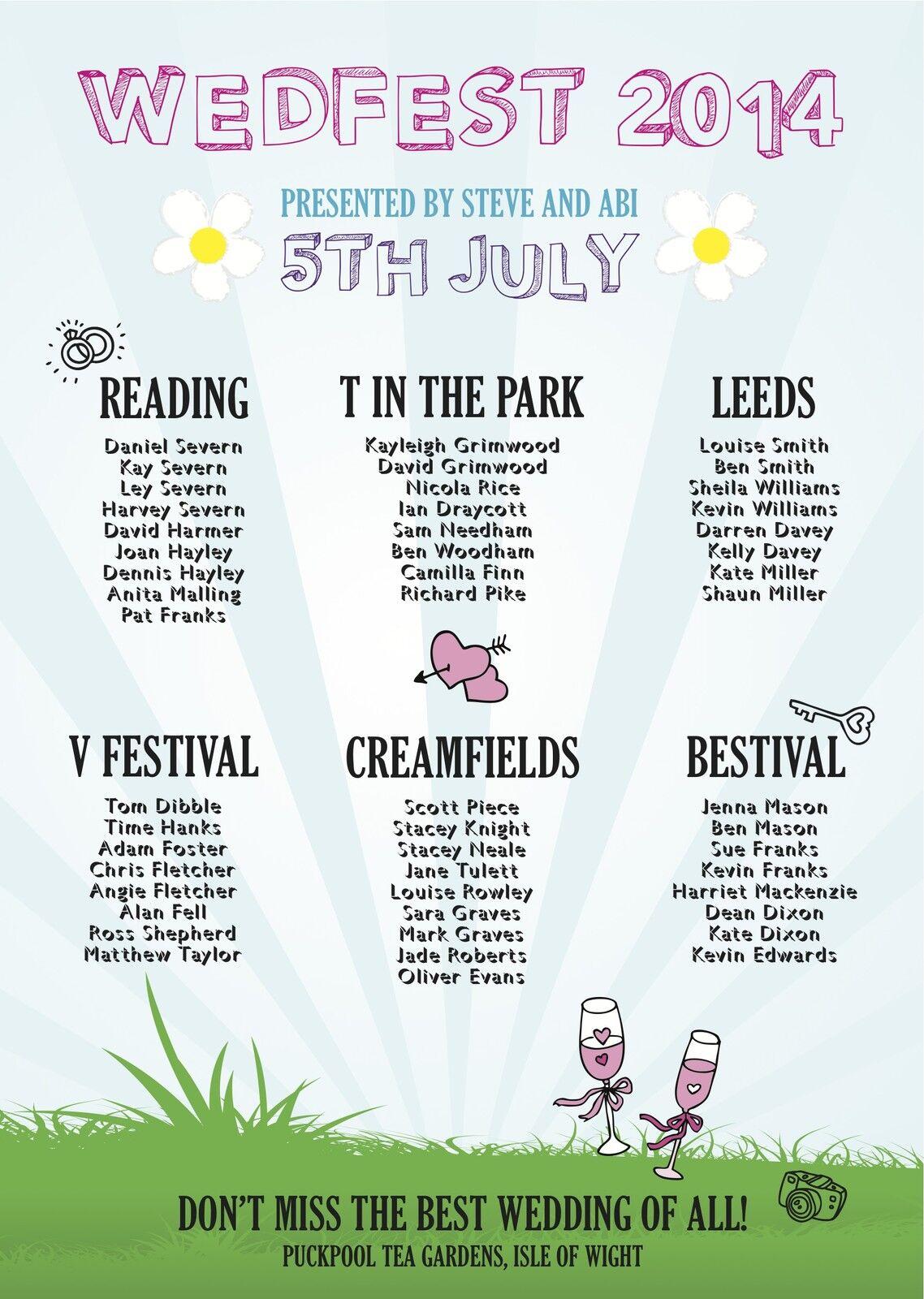1 Wedfest Funfair Festival A2 Wedding Table Seating Plan