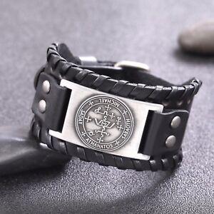 Vintage Amulet Keys of Solomon The Sigil of Archangel Michael Metal Leather Talisman Bracelet