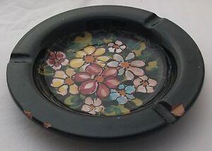 Posacenere ceramica avallone vietri nero con disegno floreale