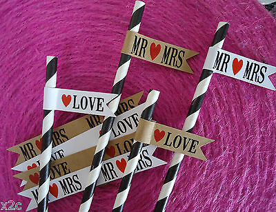 20 Flags Tags Mr Mrs Love Wedding Party Flags for Straws or Sparklers Retro