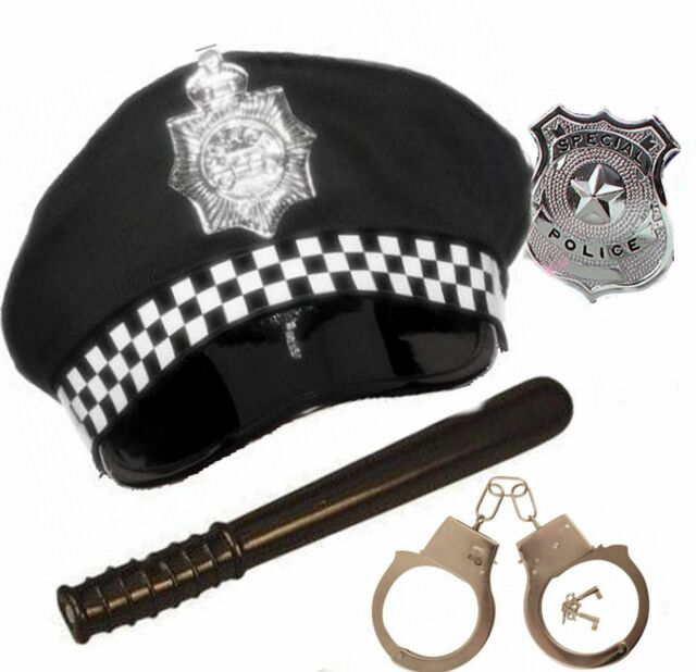 Police Fancy Dress Policeman Police Officer Panda Hat Handcuffs Badge Truncheon