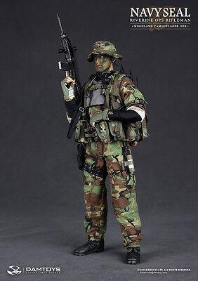 "DAM 1/6 Scale 12"" Navy Seal Riverine Ops Rifleman Woodland Camo Figure 93015"