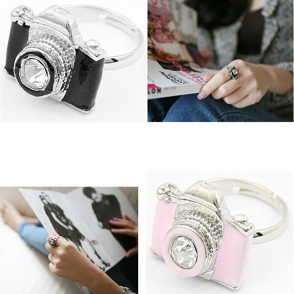 Fashion Girls Exquisite Rhinestone Camera Retro Adjustable Rings New
