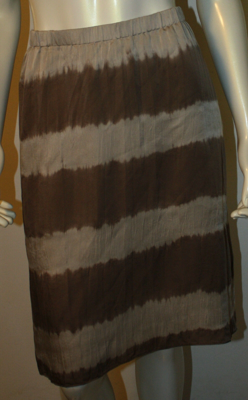 EILEEN FISHER Taupe Mocha A Line Dyed Silk Skirt M NWT Fisher Project