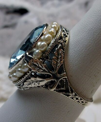 *Aquamarine*/& Pearl Sterling Silver Leaf Victorian Filigree Ring {Made To Order}
