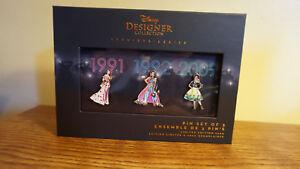 DISNEY-PRINCESS-Designer-Collection-PIN-SET-LIMITED-EDITION-Belle-Jasmine-Tiana
