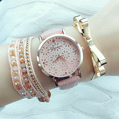Hot New Pretty Geneva Women's Ladies Flower Pink Leather Band Wristwatch Watch
