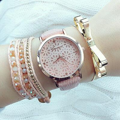 Hot New Pretty Geneva Women's Ladies Flower Pink Leather Band Wristwatch Watch
