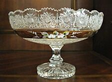 """Bohemia Crystal Handcut 10"""" Pedestal Bowl With Gold Painting, Czech Republic"""
