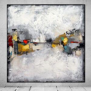 FeNatArt ACRYL Bild Gemälde moderne KUNST Leinwand MALEREI Grau ...