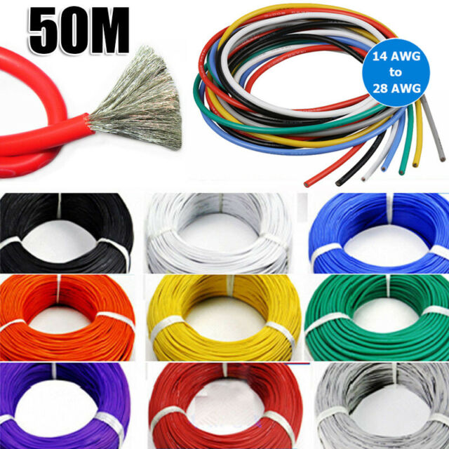 14AWG~28AWG Flexible Stranded Silicone Wire Tinned Copper Line 11 Colors 50Meter