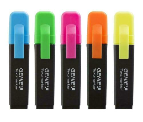 GENIE Textmarker 5 Farben Neon Mini Marker Set Highlighter 20 St