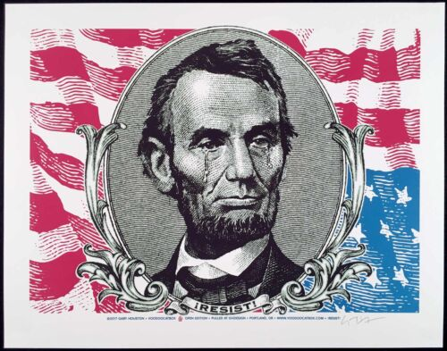 Poster Original Hand-Signed Silkscreen Gary Houston Weeping Abe Lincoln Resist