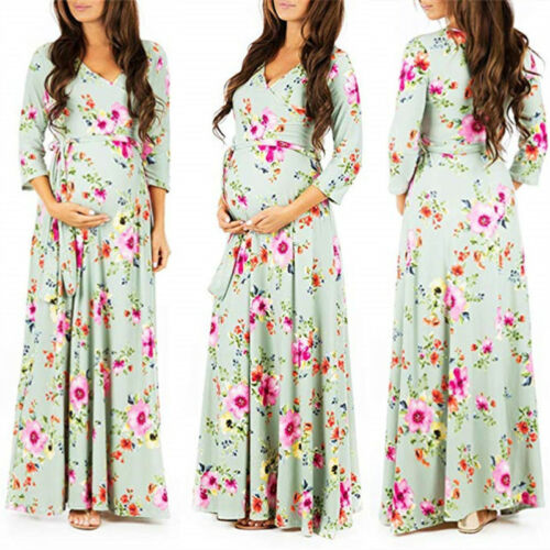 Women Pregnant Long Maxi Dress Maternity Gown Party Photography Photo Shoot Prom