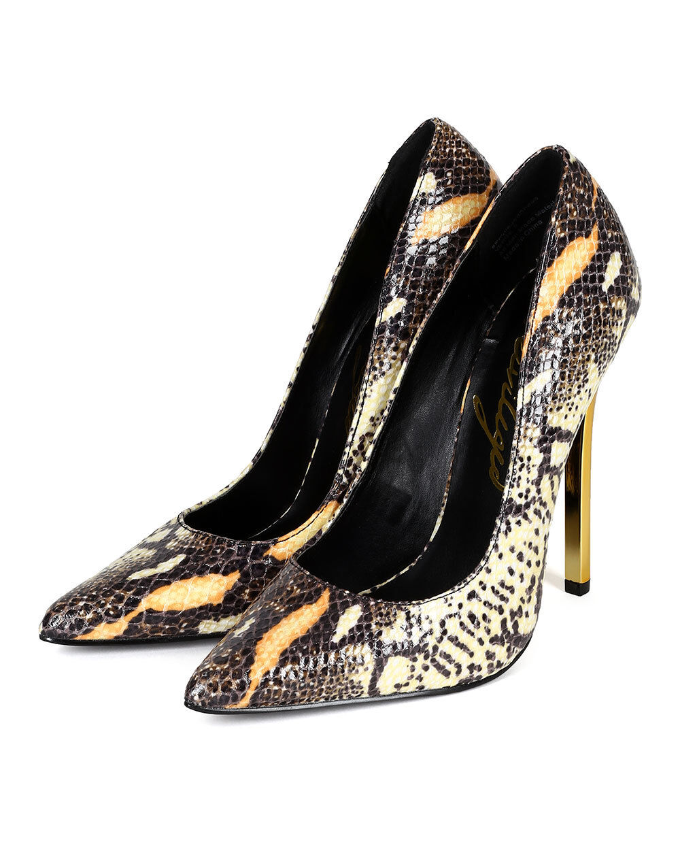 New Women Privileged Verge Snakeskin PU Pointy Toe Metallic Stiletto Stiletto Stiletto Pump 69dcb6