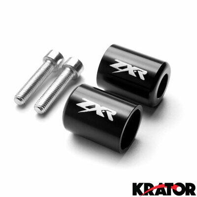 Krator Chrome Bar Ends ZX10R Logo Hand Grips Handlebar For 2003-2007 Kawasaki ZZR600