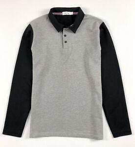 Calvin-KLEIN-POLO-SHIRT-MEN-039-S-Body-Fit-Manica-Lunga-Grigio-Blocco-di-colore-nero