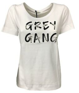 PENNYBLACK-T-Shirt-Kurze-Armel-weiss-mit-Anwendungen-schwarz-Reich-Baumwolle