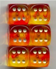 NEW Dice Set of 6 D6 (15mm) - Gem Blitz / Firefly Red