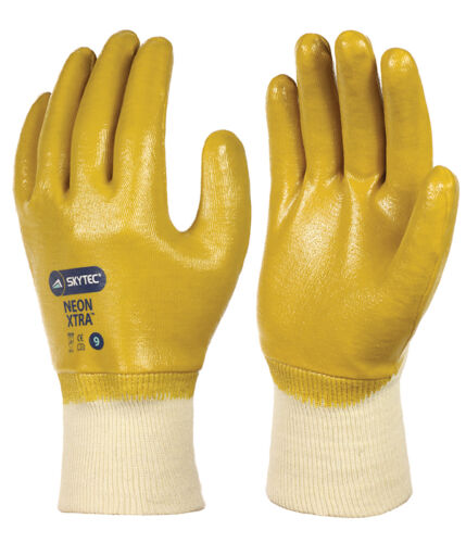 5 x Pair Of Skytec NEON XTRA Yellow Dipped Nitrile Work Wear Gloves Fully Coated