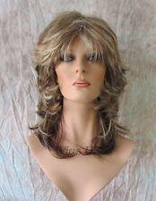 Medium Wig Auburn Blonde Mix Wavy Multi Layers Choppy Bangs Wigs Annette Wigs US
