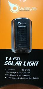 Owleye Nano Solar Powered Rear Bike Bicycle Light RRP £17.99 Black