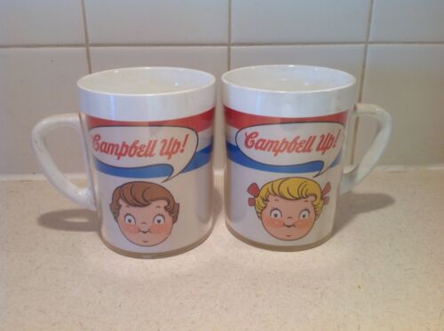 2 VINTAGE CAMPBELLS SOUP KIDS WEST BEND THERMO-SERV MUGS DRINK CUPS
