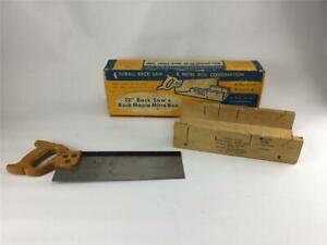Durall-Rock-Maple-Miter-Box-and-12-034-Back-Saw-Original-Box