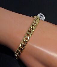 "Men's 10K Yellow Gold Cuban Bracelet 7.5mm Width, 8"" Inches Long, Rope,Franco"