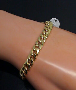 REAL-10k-Yellow-Gold-Cuban-Link-Men-Bracelet-7mm-9-Inch-Box-Lobster-Clasp-Rope
