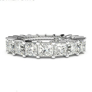 1.80 Ct Princess Moissanite Engagemant Eternity Band Solid 18K White Gold Size 6