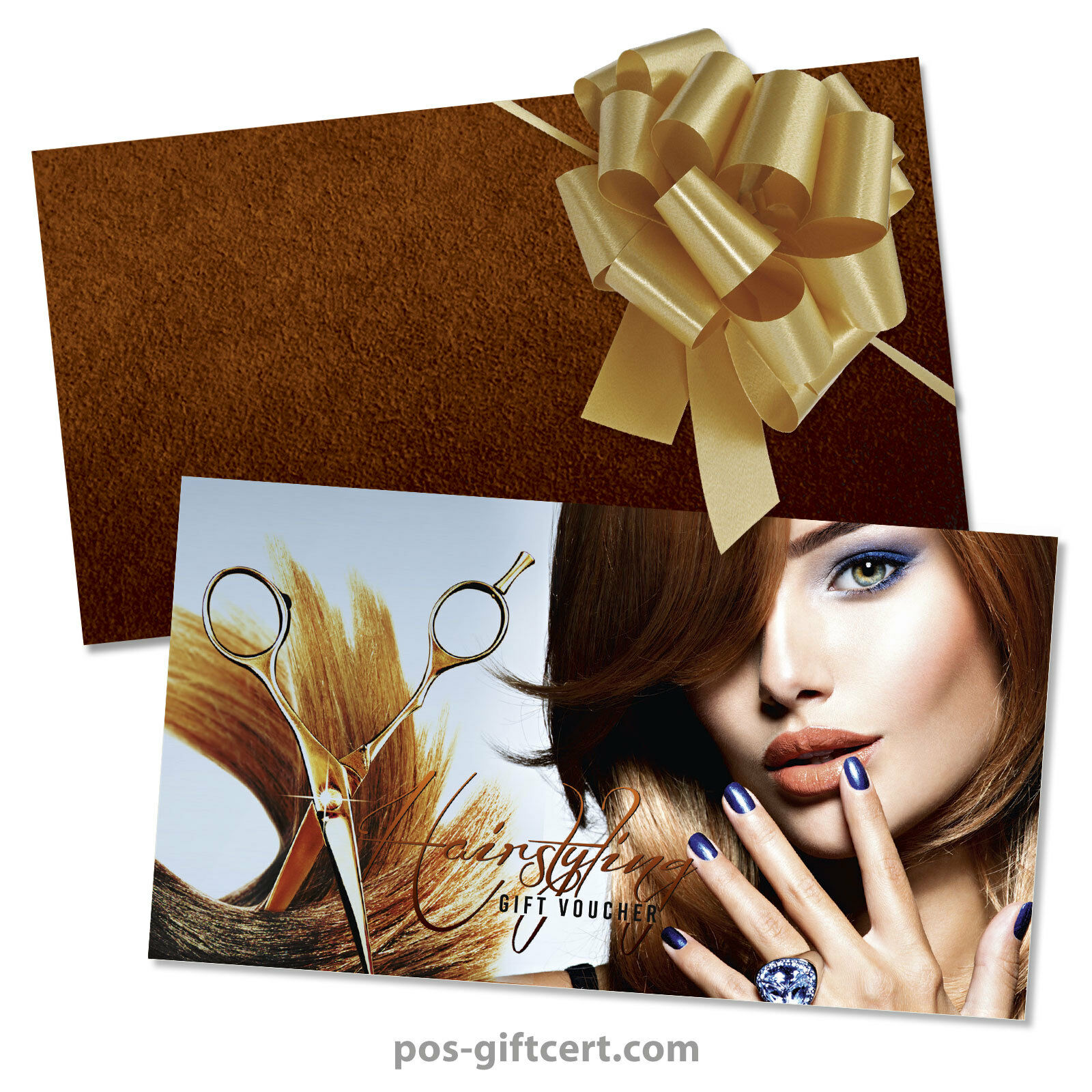 Gift vouchers + envelopes + pull bows for hair salons, hairdressers K298GB