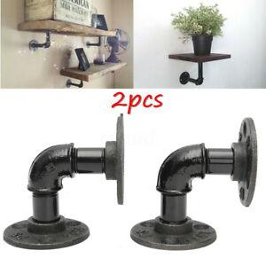US-2Pcs-Industrial-Wall-Mounted-Iron-Pipe-Shelf-Bracket-Floating-Shelf