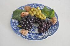 Christine Viennet France Vtg Trompe L'Oeil Art Pottery GRapes Fruit Plate French