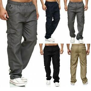 Men/'s Joggers Cargo Work Combat Trousers Gym Elastic Waist Pockets Bottoms Pants