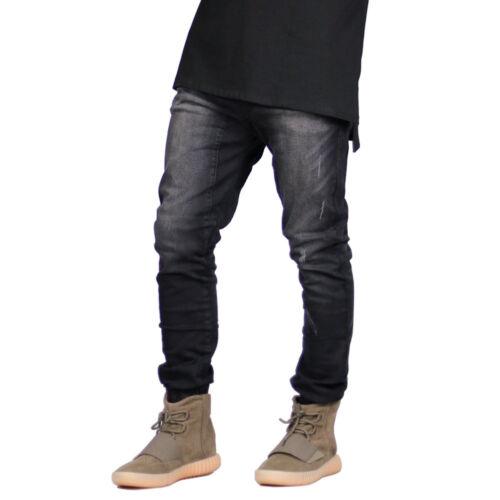 Men Street Stretch Cuffed Hem Jogger Slim Ripped Designer Skinny New Denim Jeans