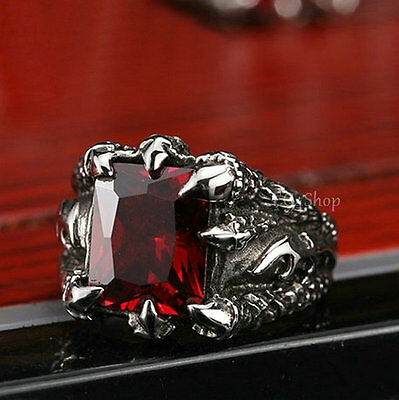 Men's Premium Dragon Claw Lightning Ruby Red CZ 316L Stainless Steel Biker Ring