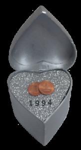 Silberhochzeit Geschenk 2x 1 Pf Münzen von 1995 bankfrisch handmade WallaBundu