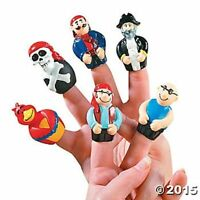 12 Pirate Skull Finger Puppets Kids Boys Birthday Party Favors Toys Cake Toppers