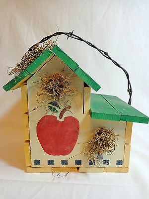 "Decorative BIRDHOUSE 9"" RED APPLES Green Roof Wood with Barbed Wire Handle"