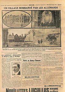 Fire-Incendie-Eglise-Mairie-Chateau-de-Tilloloy-Bataille-de-la-Somme-WWI-1915
