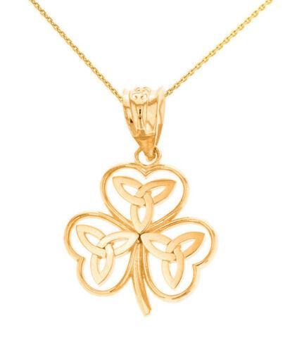 Solid 14k Yellow Gold Celtic Trinity Knot Shamrock Pendant Necklace