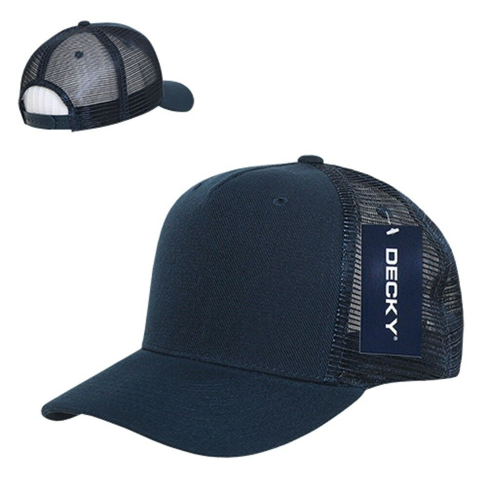 d924e7e62 Details about Solid Navy Blue Mesh Curved Bill 5 Panel Snapback Blank  Trucker Baseball Cap Hat