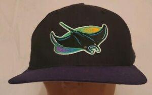 df1d75bf Details about Vintage New Era Pro Model MLB Tampa Bay Devil Rays Snapback  Hat Cap Black Purple