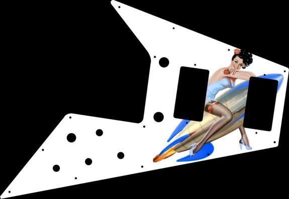 Gibson Flying V V V Pickguard'67-problema Guitarra gráfica Re Pin Up Girl cohetes WH  las mejores marcas venden barato