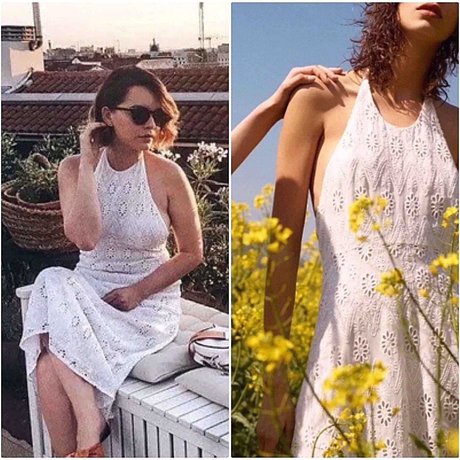 ZARA Support Neck Open Back Lace Embroiderouge Robe Maxi robe broderie dentelle