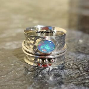 Ethiopian-Opal-Ring-Solid-925-Sterling-Silver-Spinner-Ring-Opal-Spinner-Ring