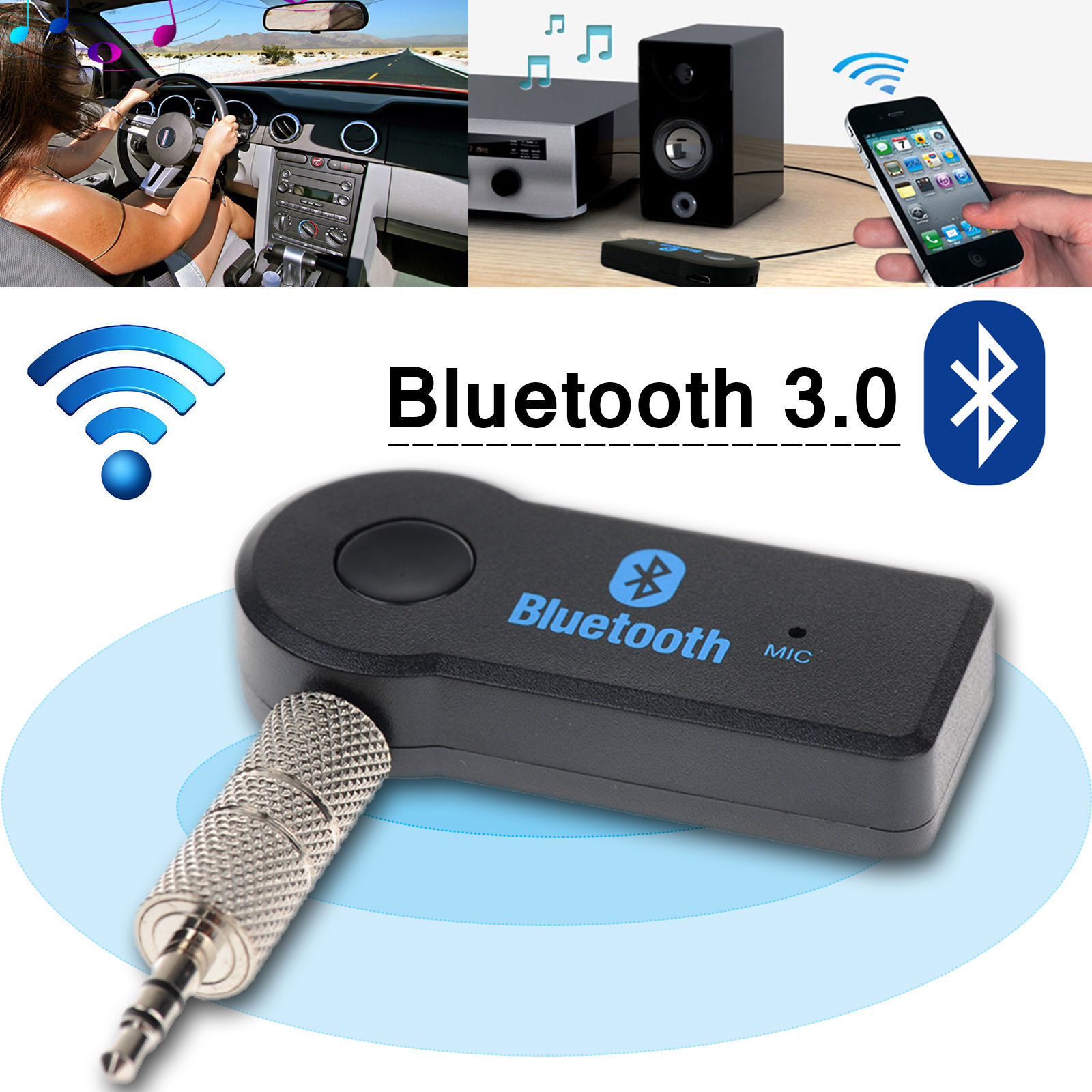 Wireless Bluetooth 3.5mm Phone To AUX Car Stereo Music Receiver Adapter Mic QQ