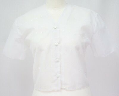 New women/'s White poly cotton embroidery anglaise crop jacket Shrug Bolero top