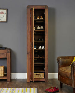 Image Is Loading Shiro Premium Solid Walnut Dark Wood Tall Narrow